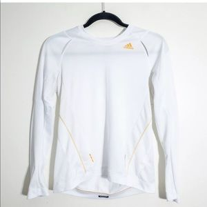 Adidas M White Long Sleeved Athletic Top Crew Neck